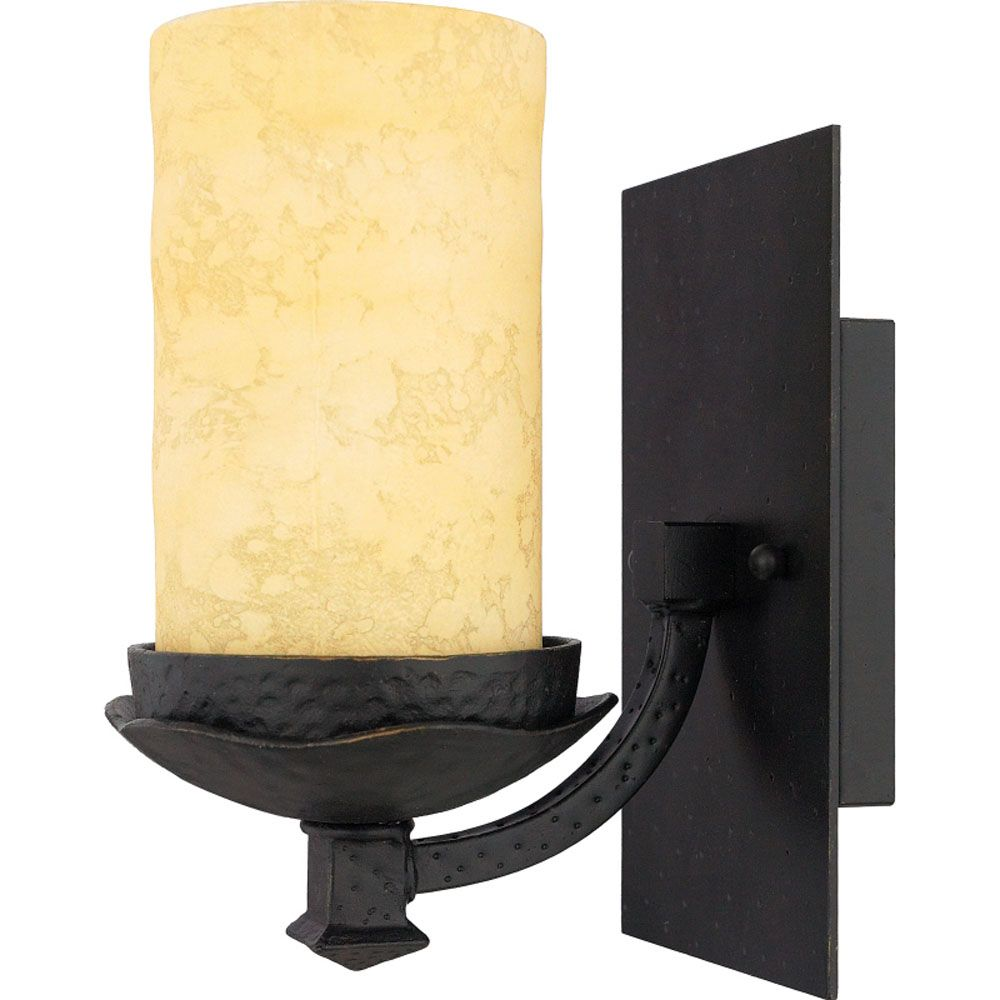 Monroe 1-Light Imperial Bronze Vanity with a Candela Scavo Shade