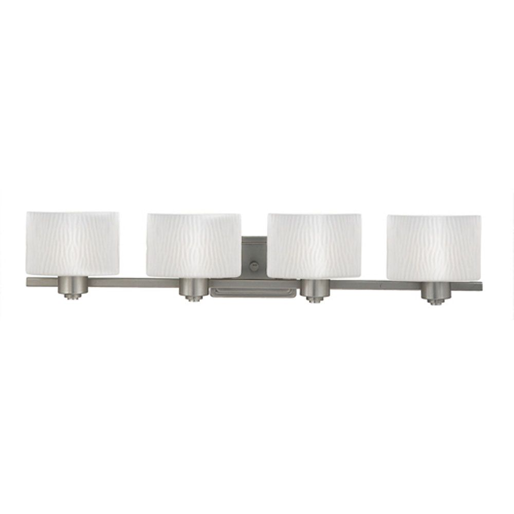 Monroe 4 Light Empire Silver Incandescent Vanity with an Opal Etched Wave  Shade