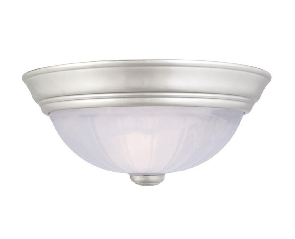 Monroe 1-Light Empire Silver Flush Mount with an Alabaster Melon Shade
