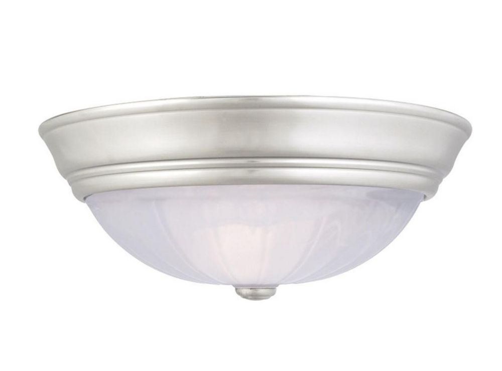Monroe 2-Light Empire Silver Flush Mount with an Alabaster Melon Shade