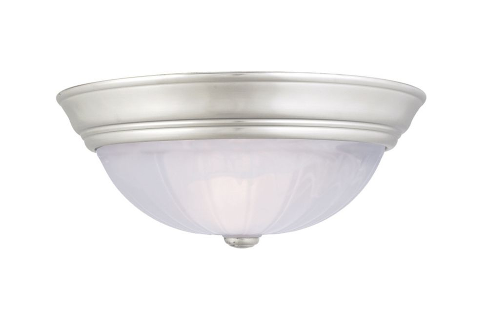 Monroe 3-Light Empire Silver Flush Mount with an Alabaster Melon Shade