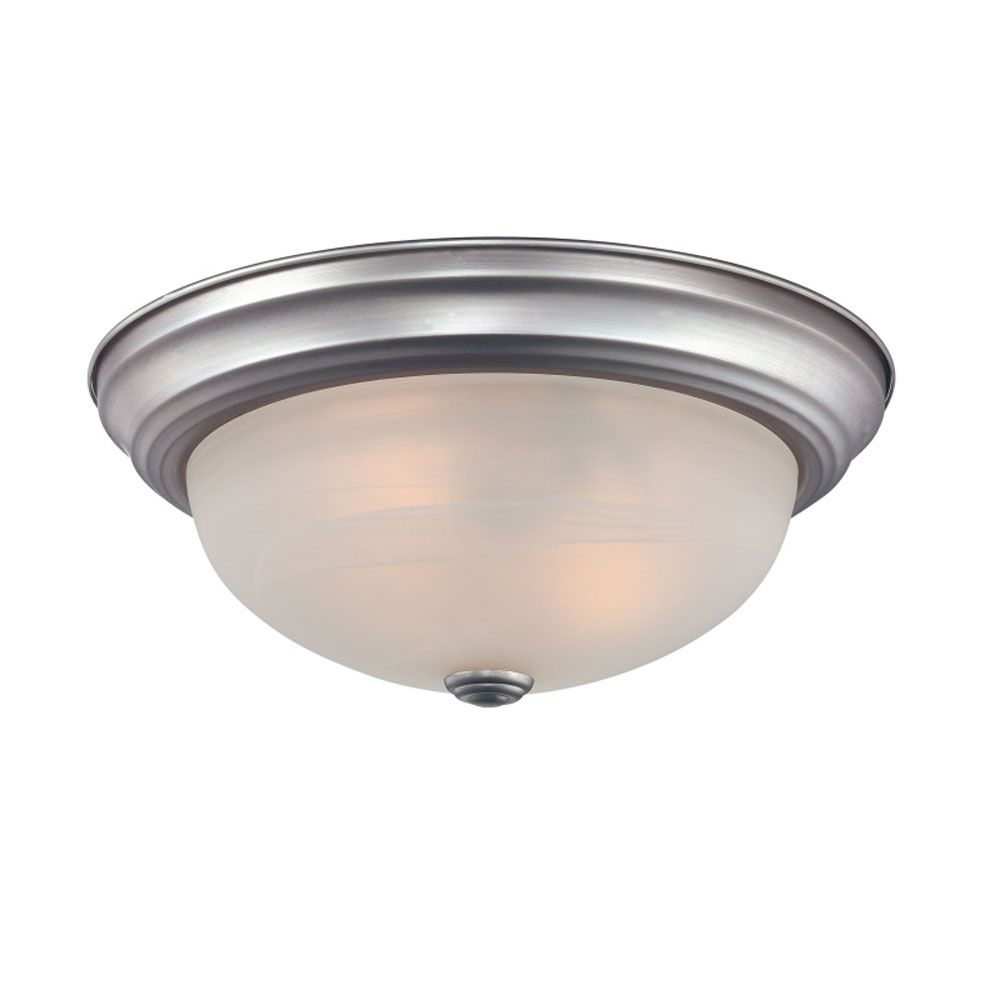 Monroe 2 Light Brushed Nickel Incandescent Flush Mount with an Opal Etched Shade