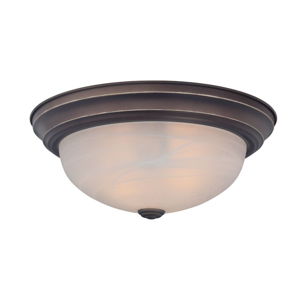 Monroe 2 Light Palladian Bronze Incandescent Flush Mount with an Opal Etched Shade