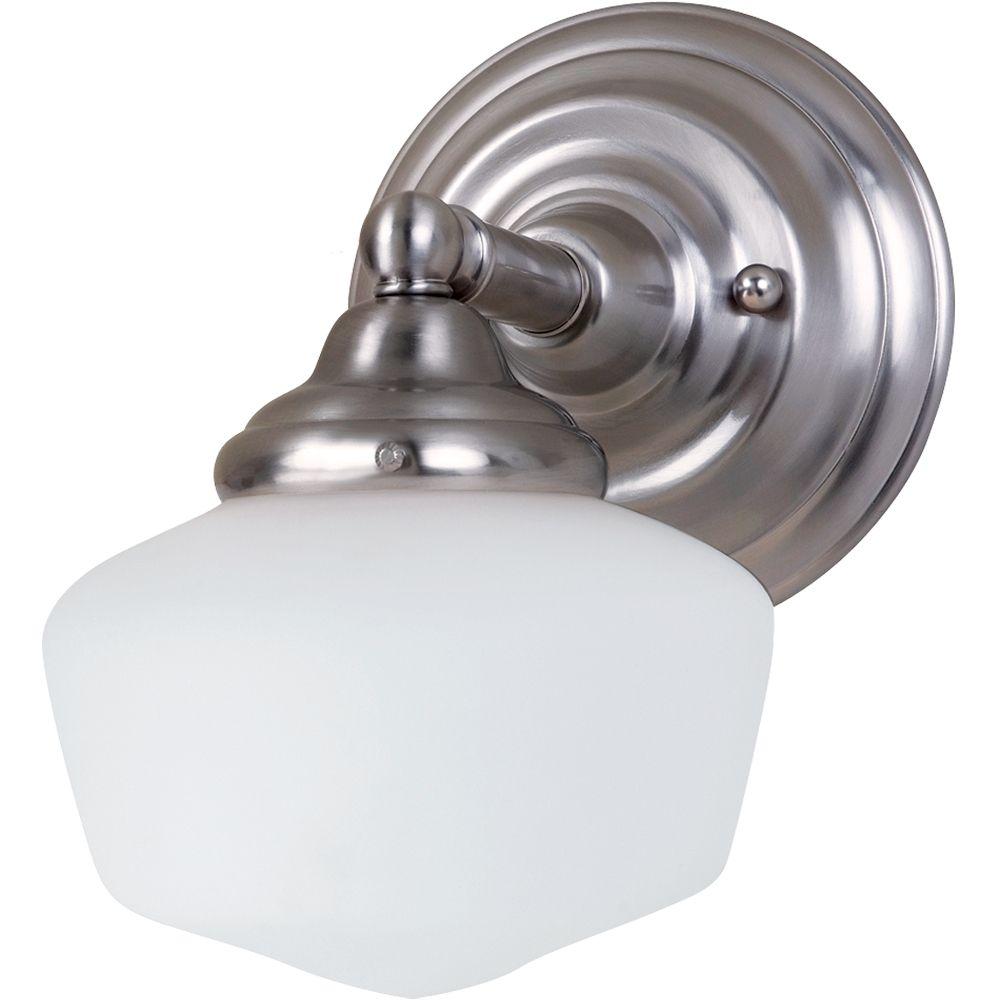 Lumière Seagull fixée au mur à une ampoule avec abat-jour blanc, finition de spécialité