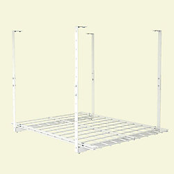 Hyloft 27X36 Inch Ceiling Mounted Shelf, White Finish, Adjustable Height 15-28 Inch, 150 lb Weight Capacity