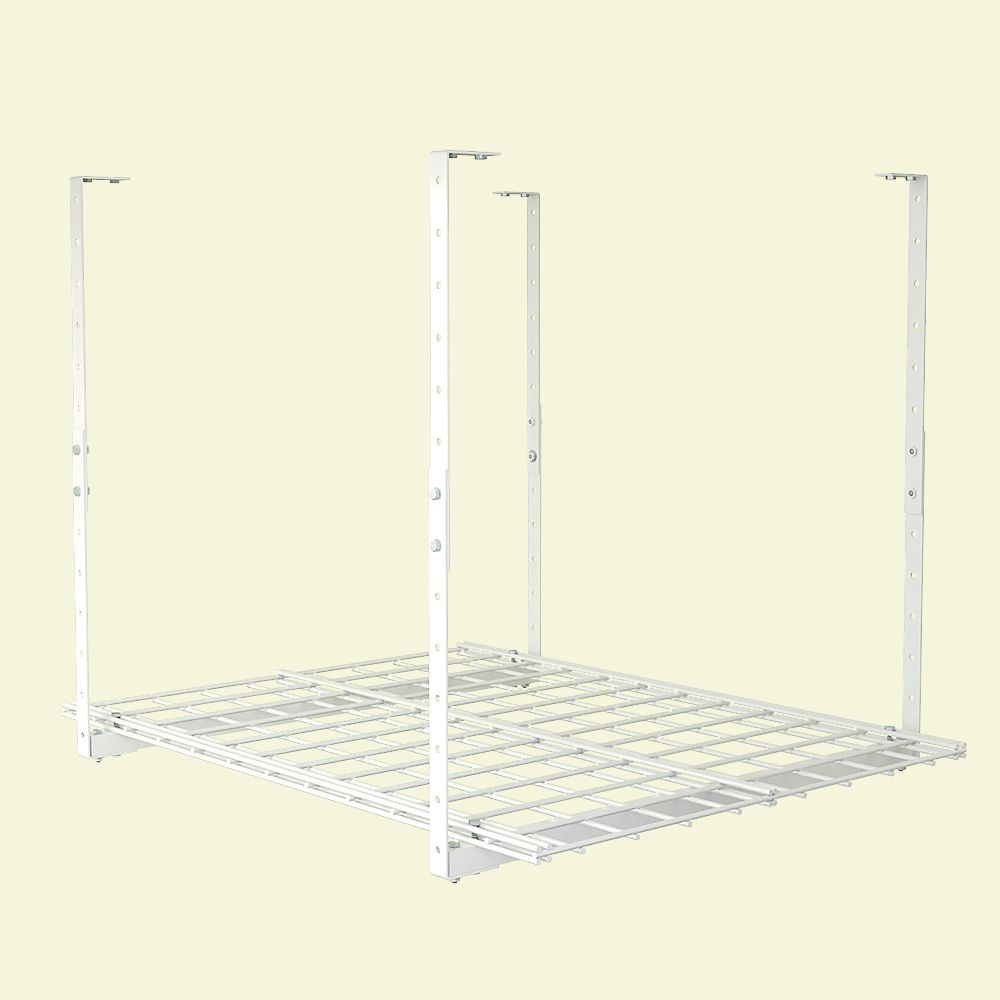 27X36 Inch Ceiling Mounted Shelf, White Finish, Adjustable Height 15-28 Inch, 150 lb Weight Capac...