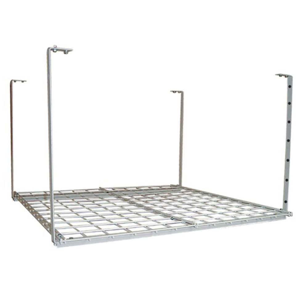 36x36 Inch Ceililng Mounted Shelf, White Finish, Adjustable Height 16-28 Inch, 150 Lb Weight Capa...