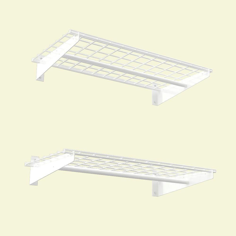 36x18 Inch Wall Shelf, 2-Pack, White Finish, With Cloths Hanging Rod, 150 Lb Weight Capacity