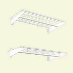 2-Shelf 36-inch W Wire Garage Wall Storage System in White