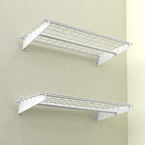 Wall Shelf With Hanging Rod hyloft 36x18 inch wall shelf, 2-pack, white finish, with cloths