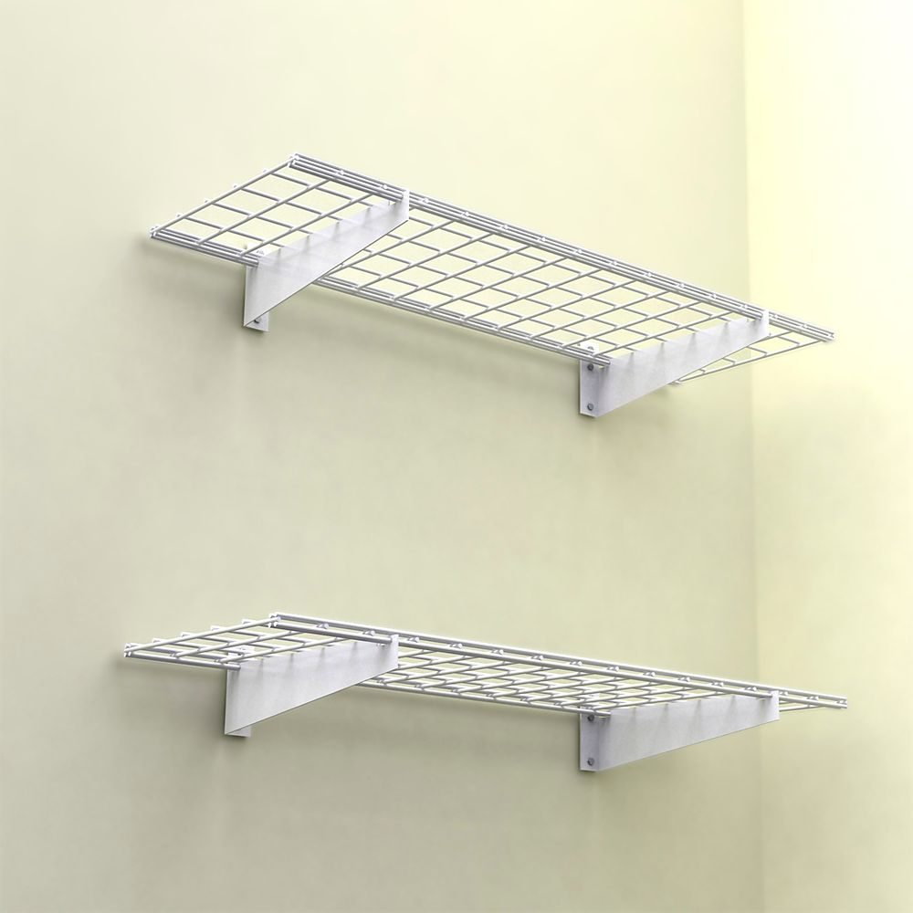 45x15 Inch Wall Shelf, 2-Pack, White Finish, 150 Lb Weight Capacity