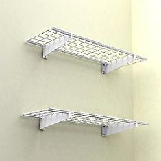 2-Shelf 45-inch W Wire Garage Wall Storage System in White