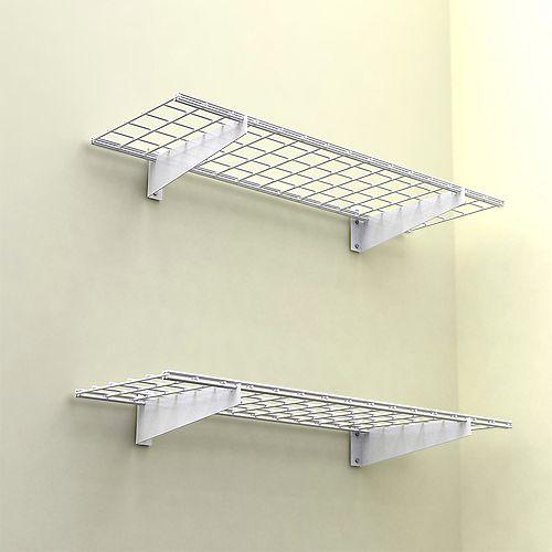 Hyloft 2-Shelf 45-inch W Wire Garage Wall Storage System in White