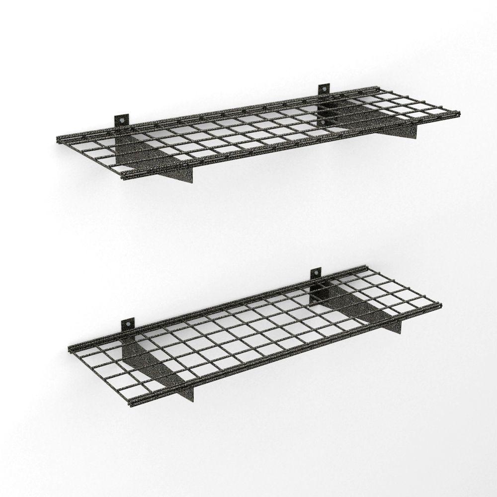 Hyloft 45x15 Inch Wall Shelf 2 Pack Black Hammertone