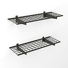 45-inch x 15-inch 150 lb. Capacity Wire Floating Shelf in Black Hammertone (2-Pack)