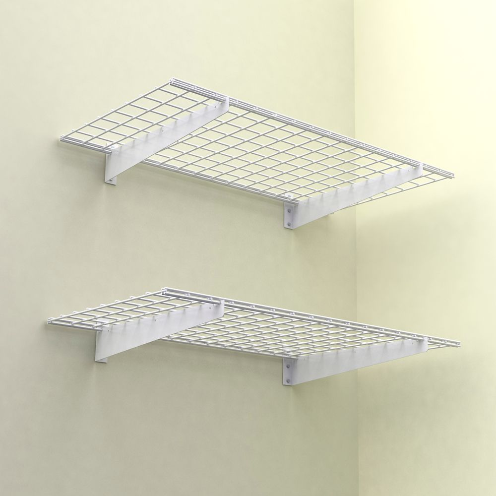 48x24 Inch Wall Shelf, 2-Pack, White Finish, 150 Lb Weight Capacity