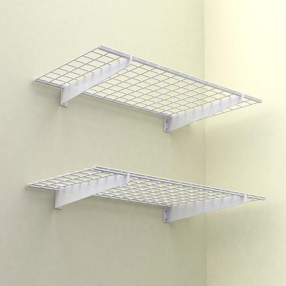 48x24 Inch Wall Shelf, 2-Pack, White Finish, 150 Lb Weight Capacity