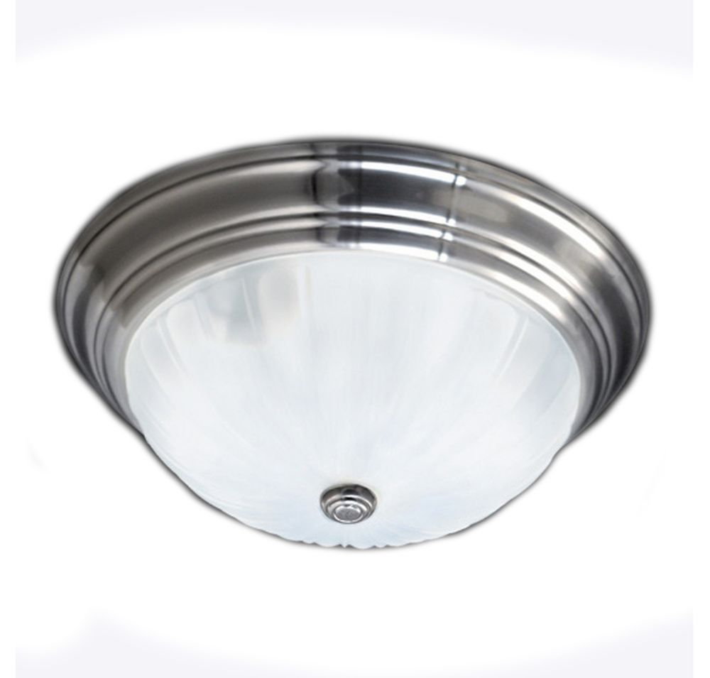 Monroe 3-Light Empire Silver Flush Mount with an Etched Melon Shade