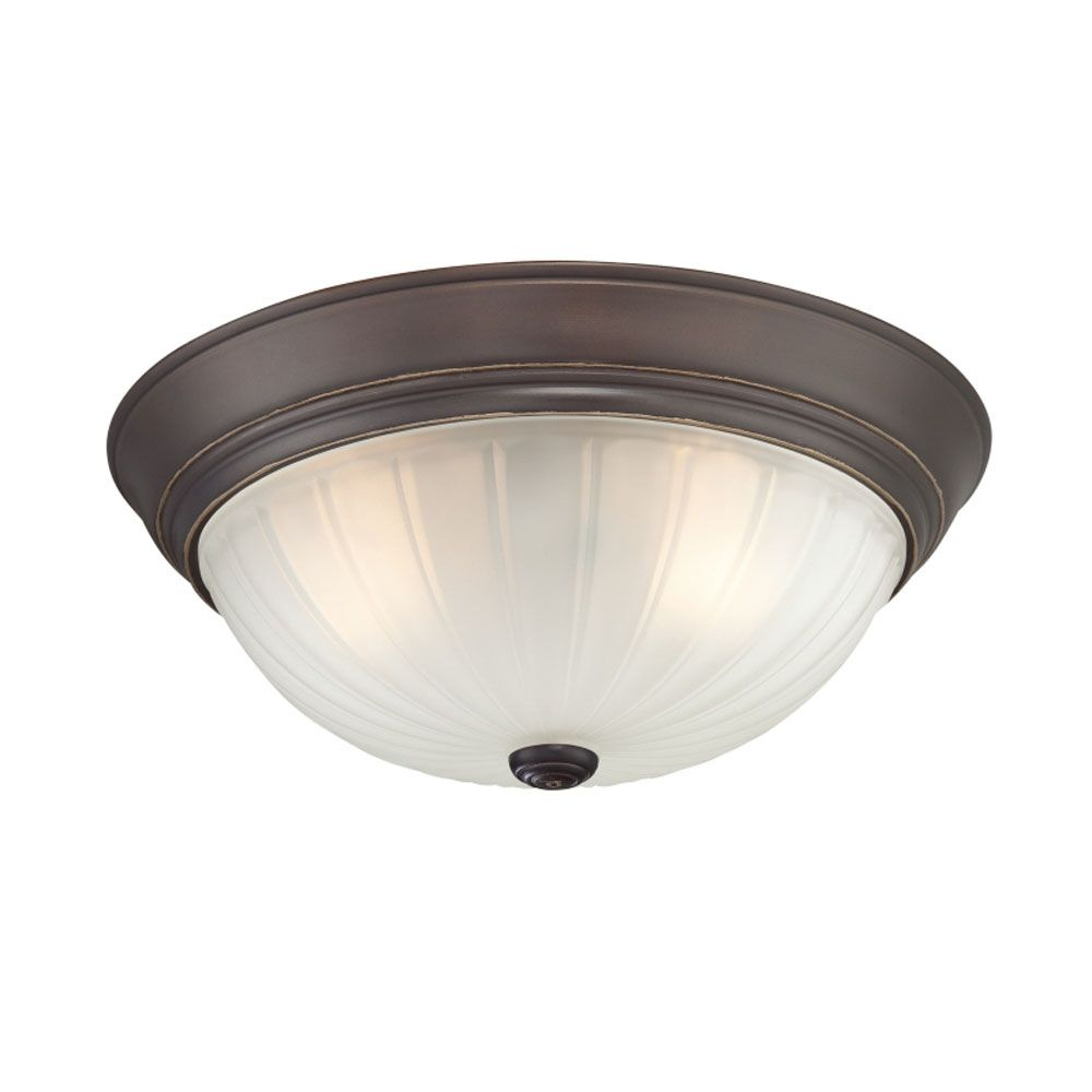 Monroe 3 Light Palladian Bronze Incandescent Flush Mount with an Etched Melon Shade