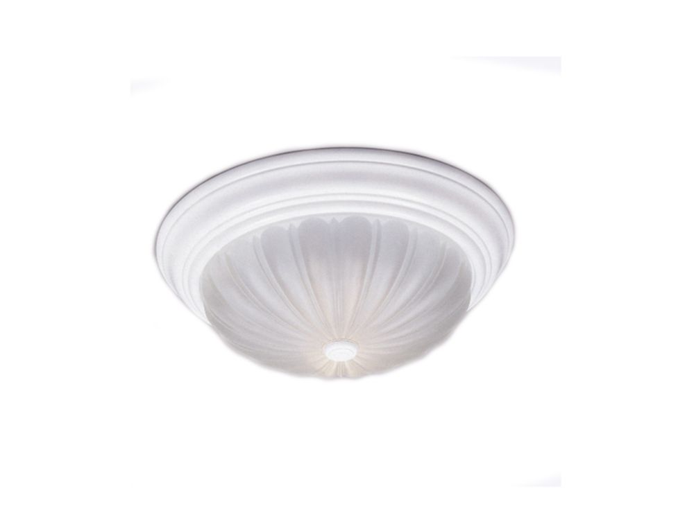 Monroe 3 Light Fresco Incandescent Flush Mount with an Etched Melon Shade