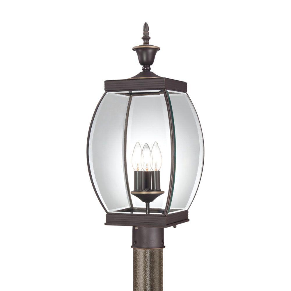 Monroe 3 Light Medici Bronze Outdoor Incandescent Post Lantern CLI-QU181157 in Canada