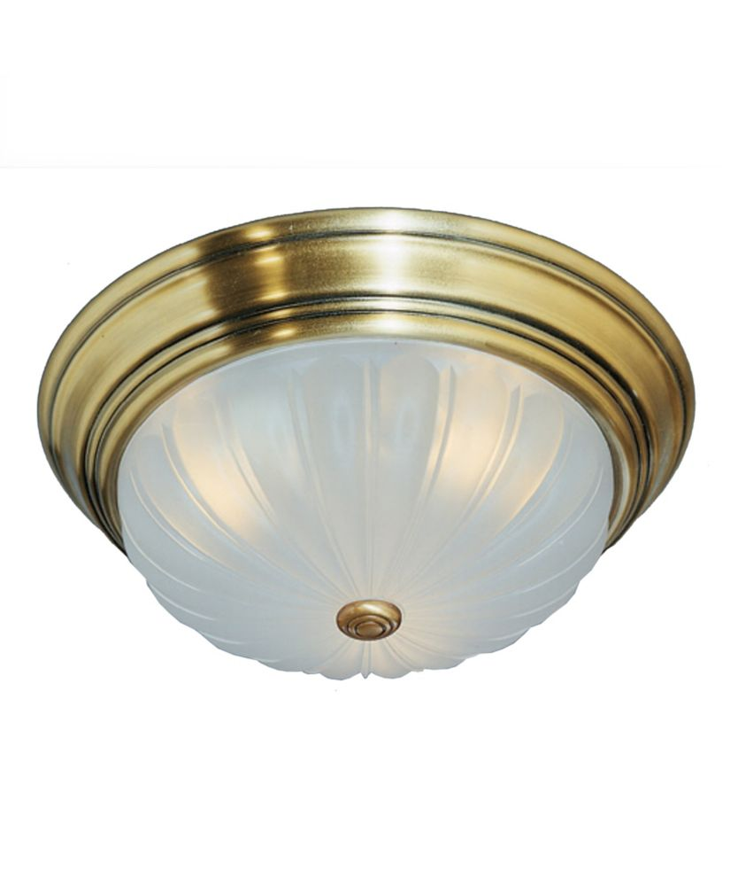 Monroe 3 Light Antique Brass Incandescent Flush Mount with an Etched Melon Shade