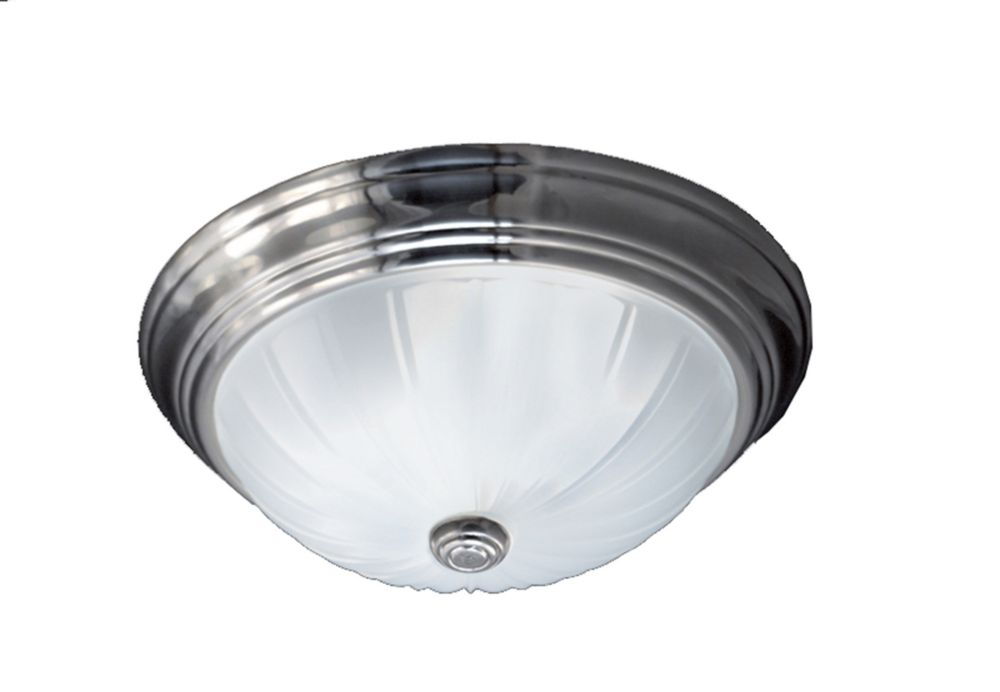 Monroe 2-Light Empire Silver Flush Mount with an Etched Melon Shade