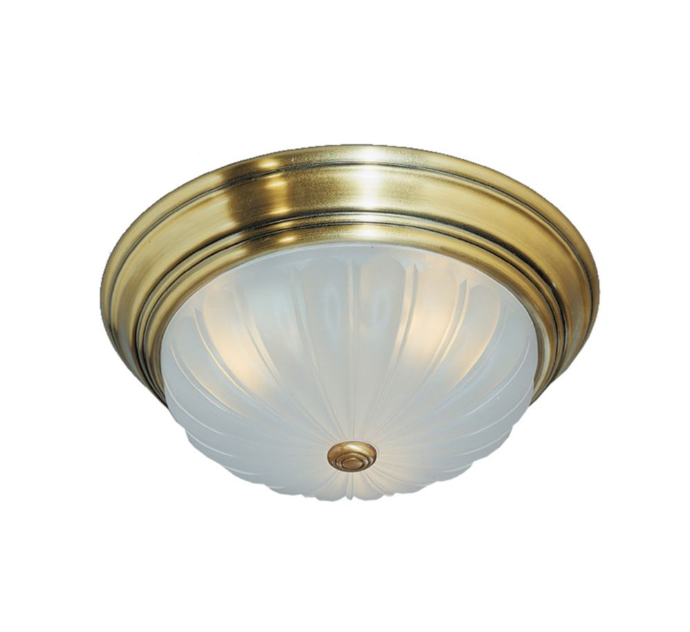 Monroe 2-Light Antique Brass Flush Mount with an Etched Melon Shade