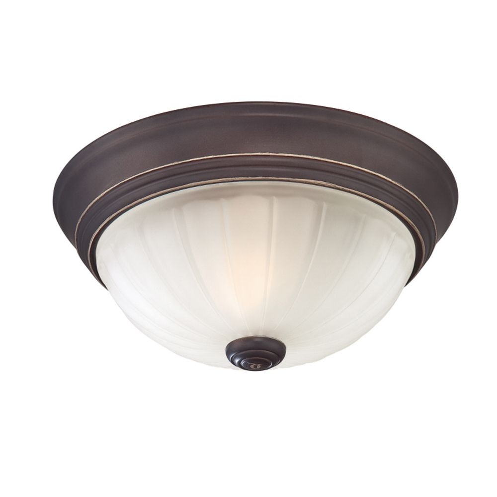 Monroe 1-Light Palladian Bronze Flush Mount with an Etched Melon Shade