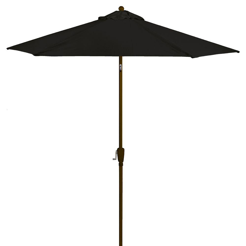 Parasol noir de 2,29m (7,5pi) en aluminium avec bouton d'inclinaison et manivelle