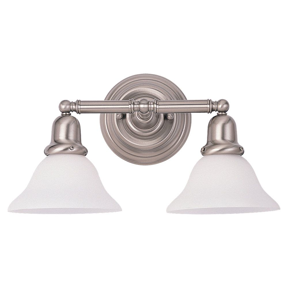 2 Light Brushed Nickel Incandescent Bathroom Vanity
