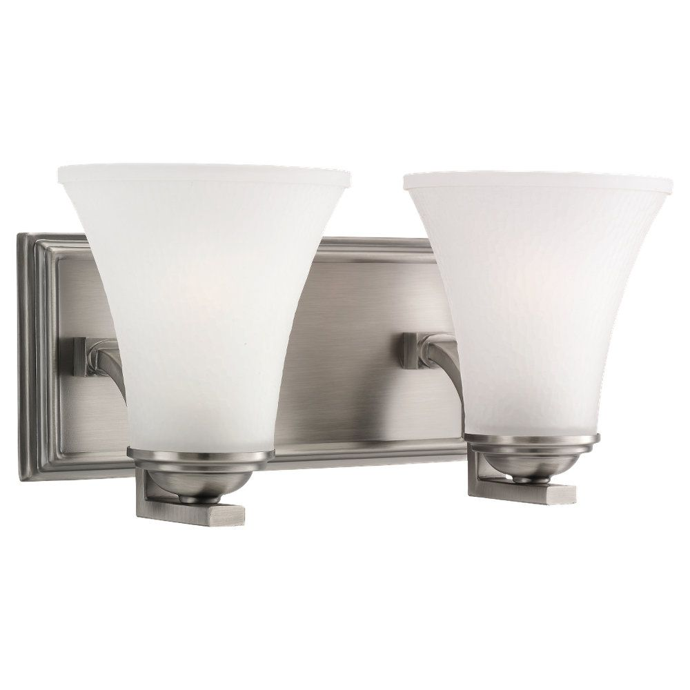 2 Light Antique Brushed Nickel Incandescent Bathroom Vanity