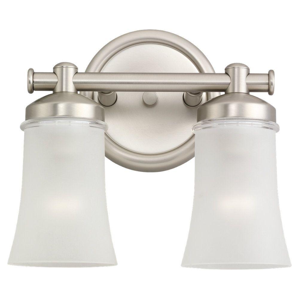 2 Light Antique Brushed Nickel Incandescent Bathroom Vanity