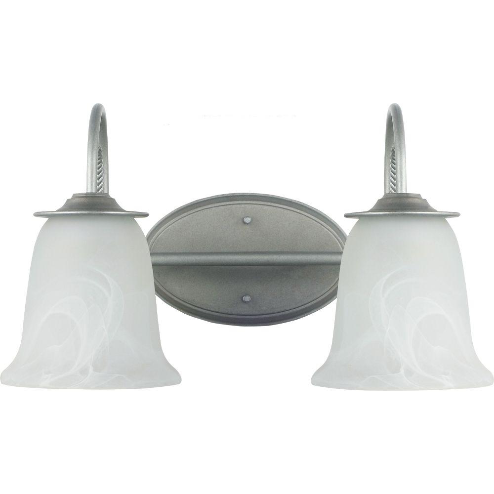 2 Light Weathered Pewter Incandescent Bathroom Vanity