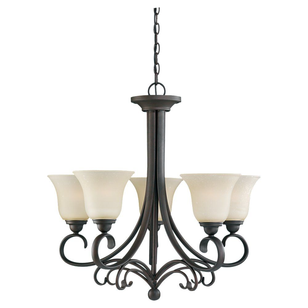 5 Light Chestnut Bronze Incandescent Chandelier