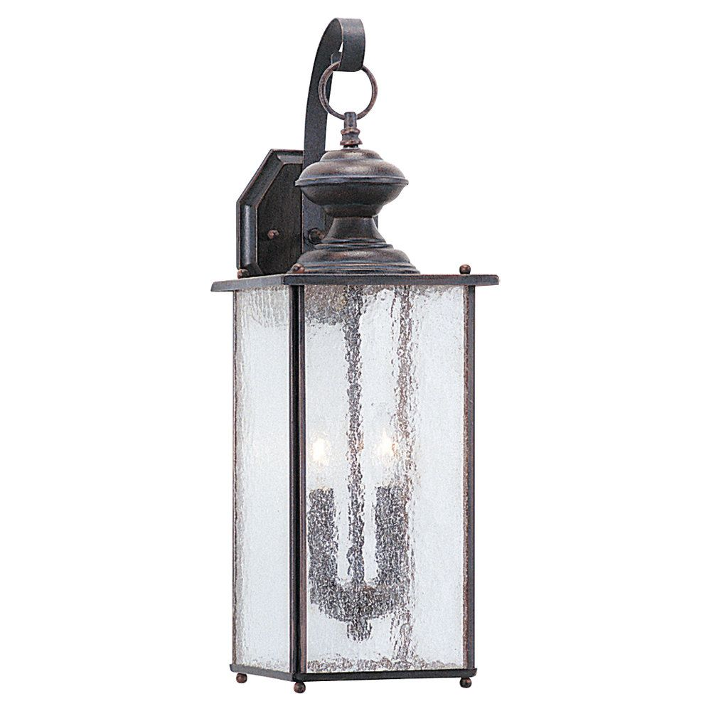 2 Light Textured Rust Patina Incandescent Outdoor Wall Lantern