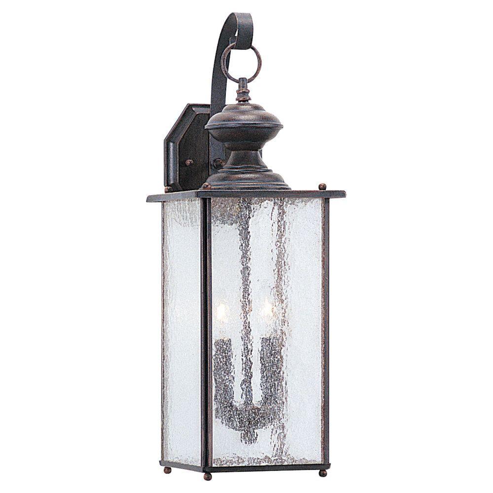 2-Light Textured Rust Patina Outdoor Wall Lantern