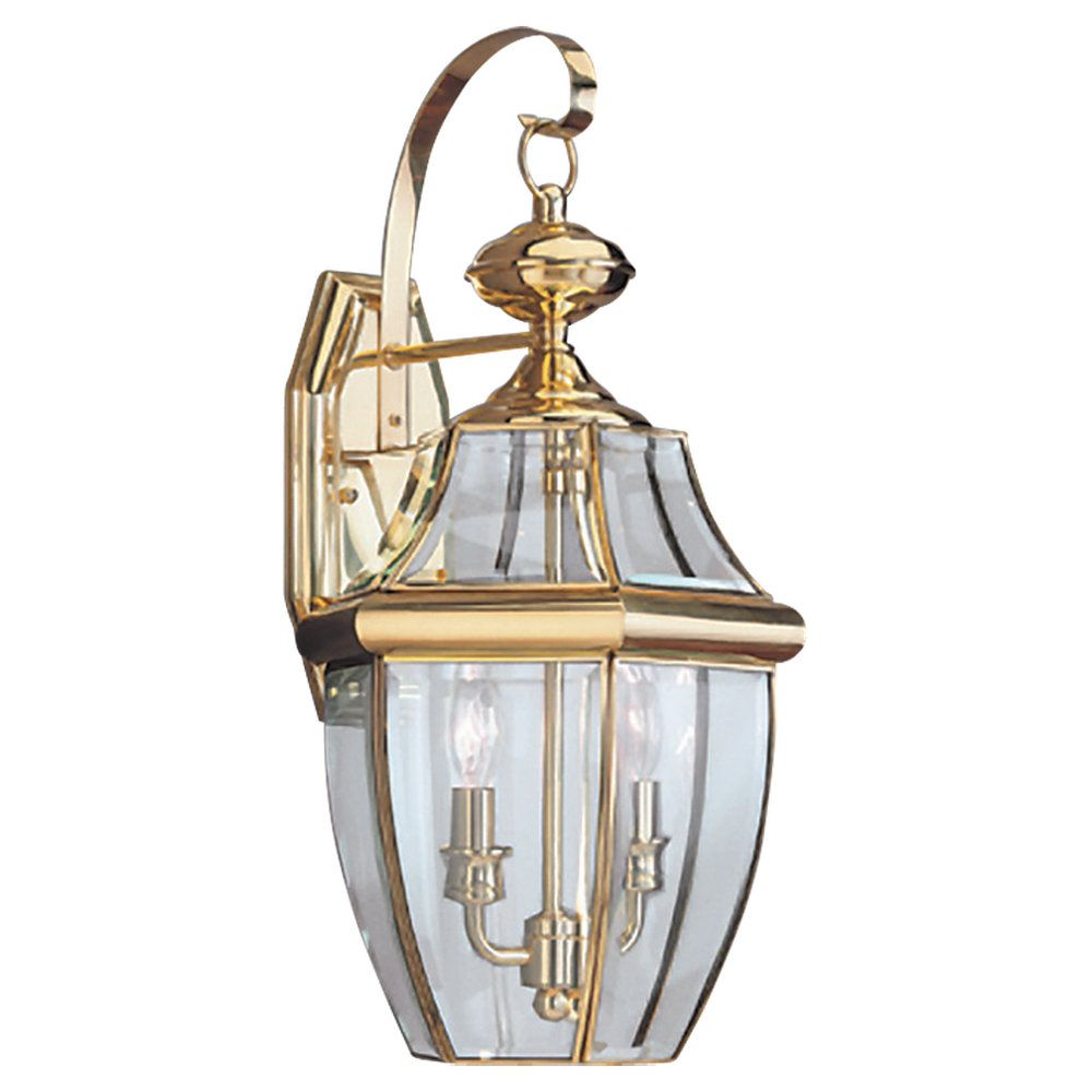 2 Light Polished Brass Incandescent Outdoor Wall Lantern