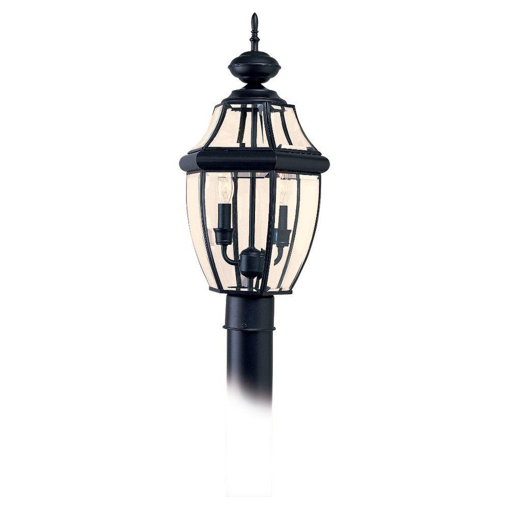 2-Light Black Outdoor Post Lantern
