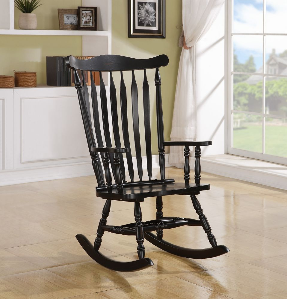 "Rocking Chair - 44""H / Black Oak Traditional Style"