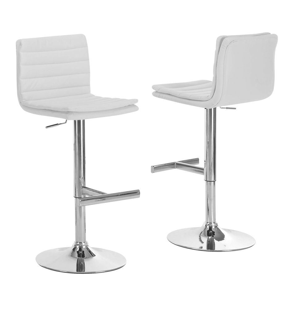 Barstool - 2Pcs / White / Chrome Metal Hydraulic Lift I 2355 Canada Discount