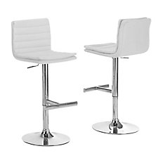 Tabouret De Bar - 2Pcs / Blanc / Chrome Hydraulique