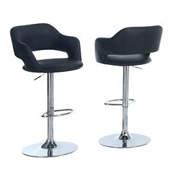 Monarch Specialties Hydraulic Lift Chrome Bar Stool with Black Upholstery