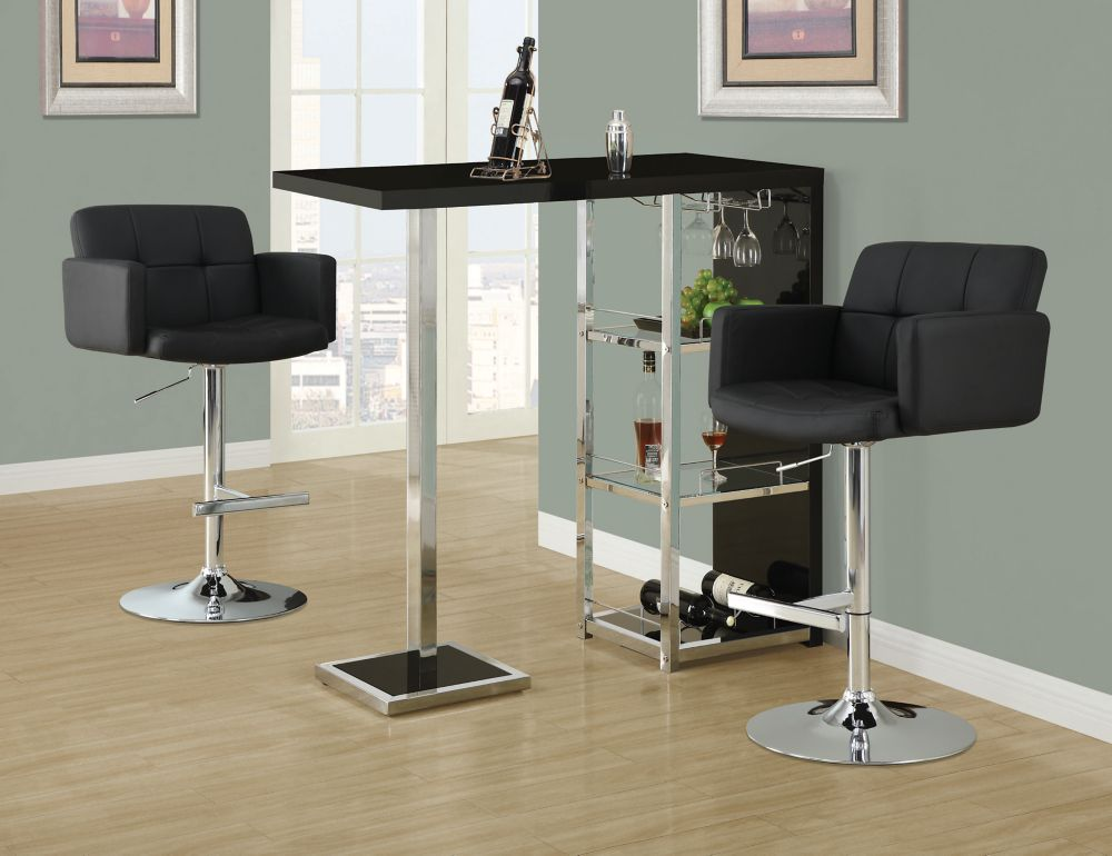 Barstool - Black / Chrome Metal Hydraulic Lift I 2359 in Canada