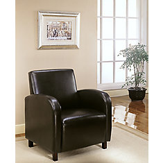Leather-Look Accent Chair in Dark Brown