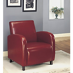 Contemporary Club Faux Leather Accent Chair in Cherry with Solid Pattern