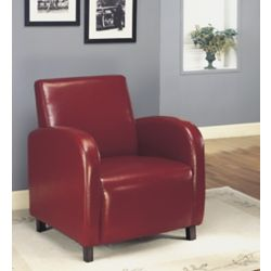 Monarch Specialties Contemporary Club Faux Leather Accent Chair in Cherry with Solid Pattern