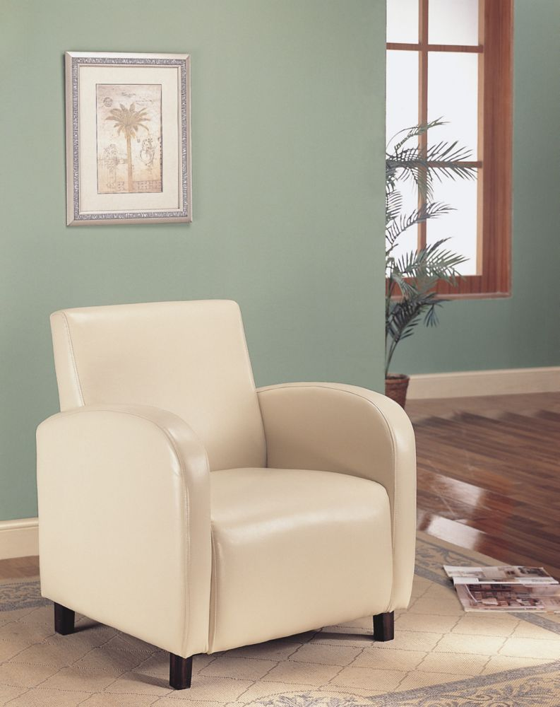 Leather-Look Accent Chair - Beige