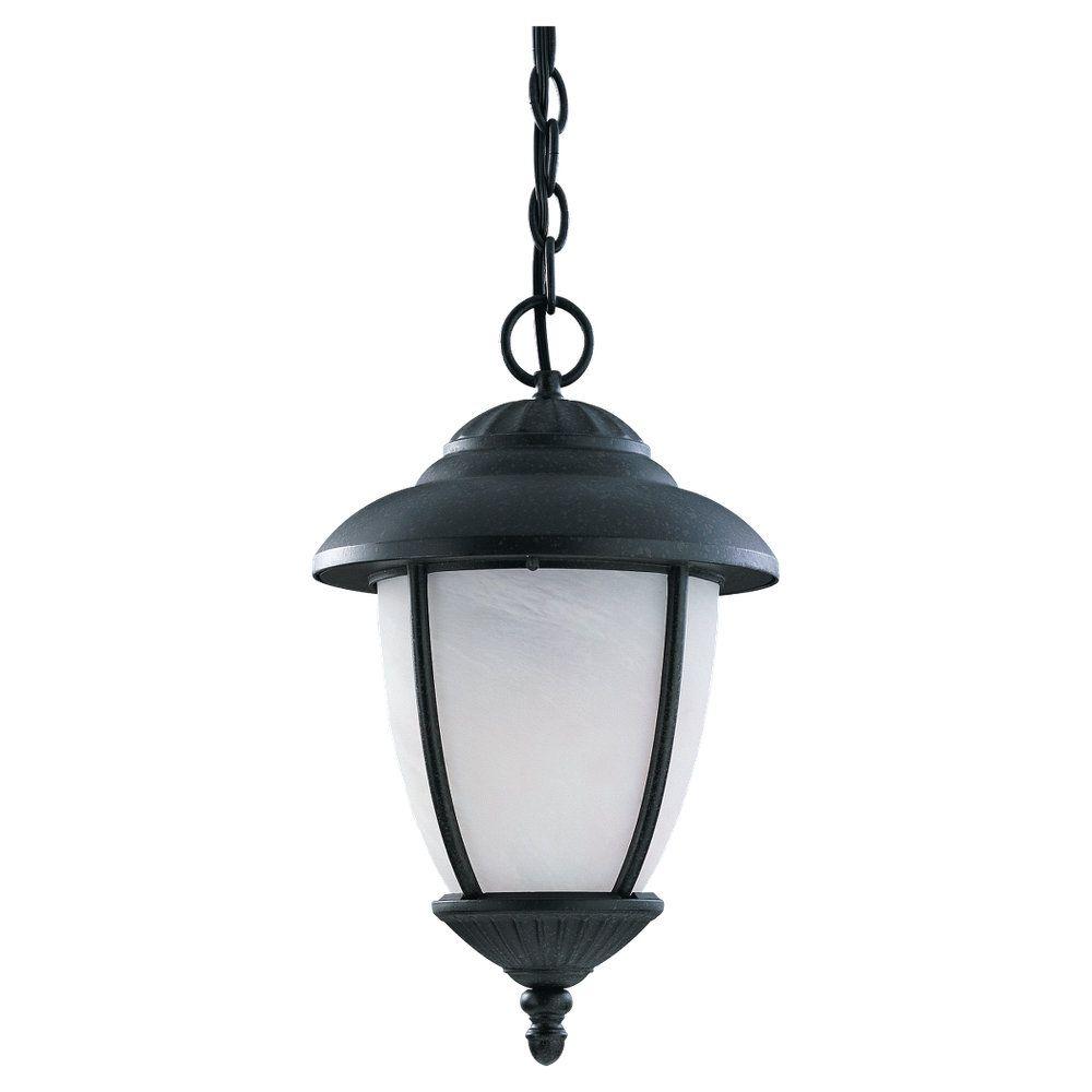 1 Light Black Fluorescent Outdoor Pendant