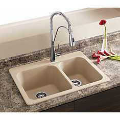 Silgranit, Natural Granite Composite Topmount Kitchen Sink, Biscotti
